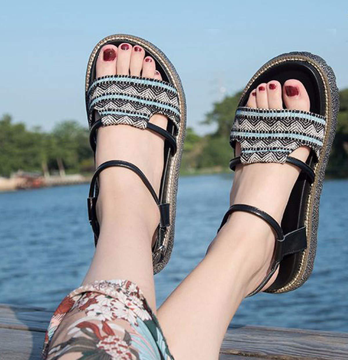 KPHY-Sandalen KPHY-Sandalen KPHY-Sandalen Mode Damenschuhe Drag Retro - Schuhe Flachen Boden - Schuhe.34 Schwarz - cdf76b