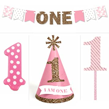 1st Birthday Girl Smash Cake Kit High Chair Decorations Amazon