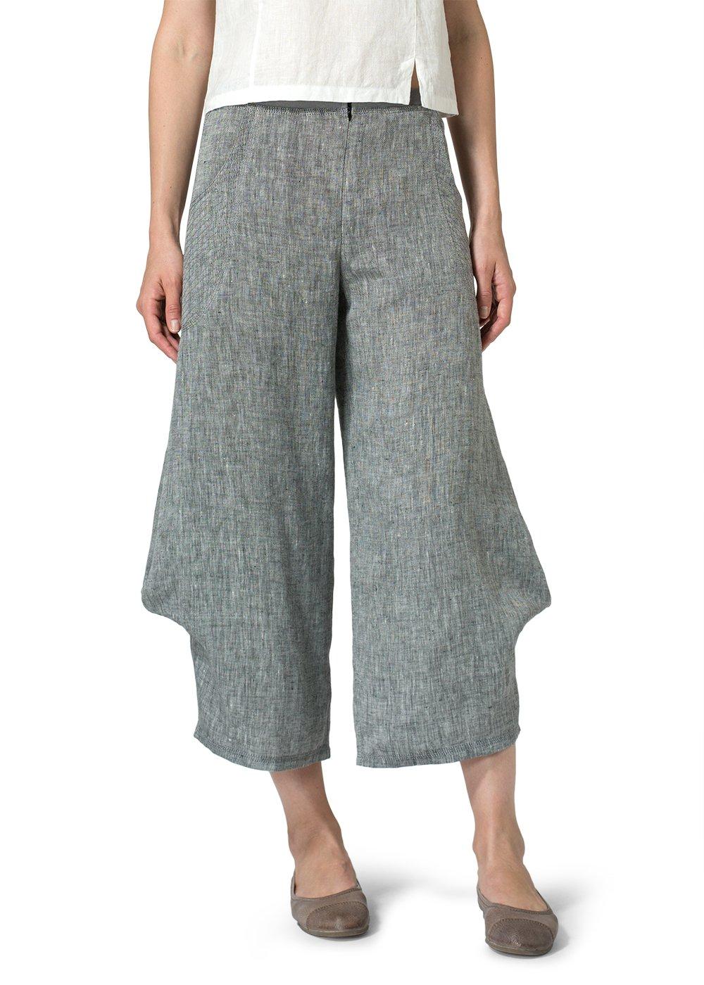 Vivid Linen Flared Leg Crop Pants-14-Two Tone Black
