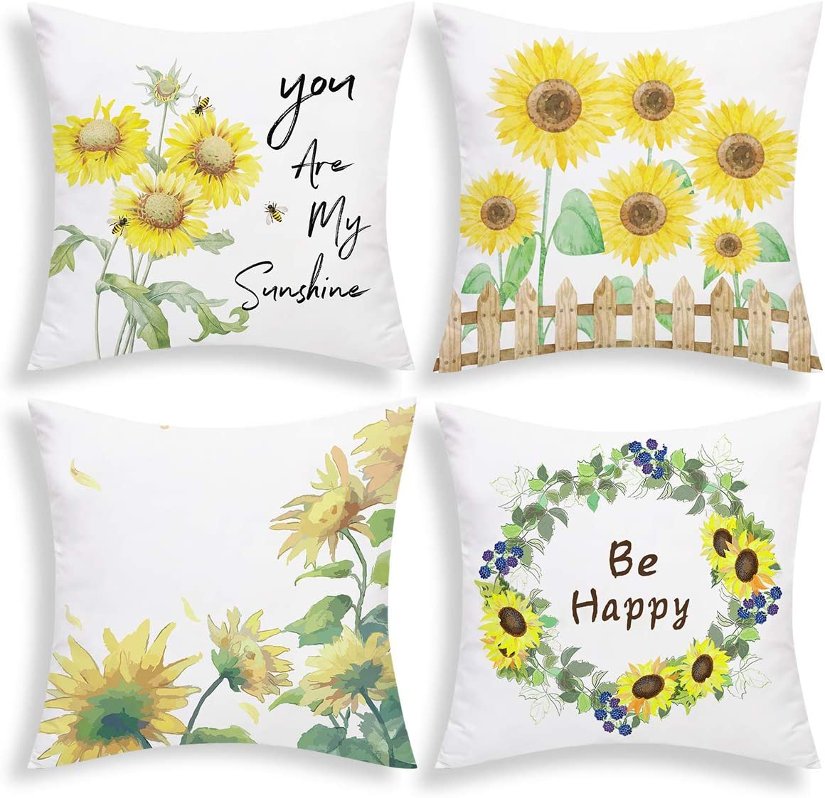 Amazon Com Bleum Cade Sunflowers Throw Pillow Cover Fall Pillow Covers Set Of 4 Decorative Autumn Cushion Covers For Sofa Couch Bed Car Yellow 18 X 18 Inch Home Kitchen