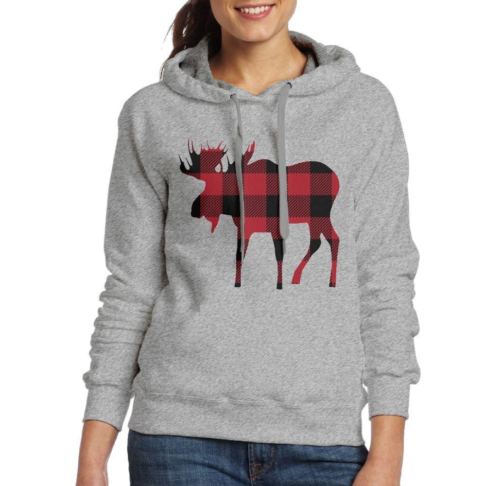 Babysusu Buffalo Plaid Moose Lumberjack Red Black Woman Pullover Sweater Shirt Hoodie Ash Medium