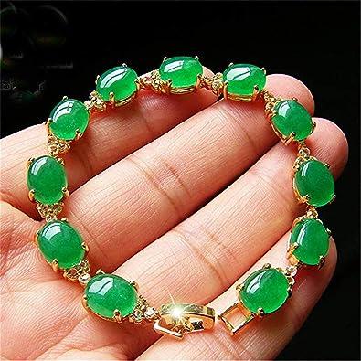 """Natural Emerald Green Jade 18KGP Luck Link Bracelet 7.5/"""""""