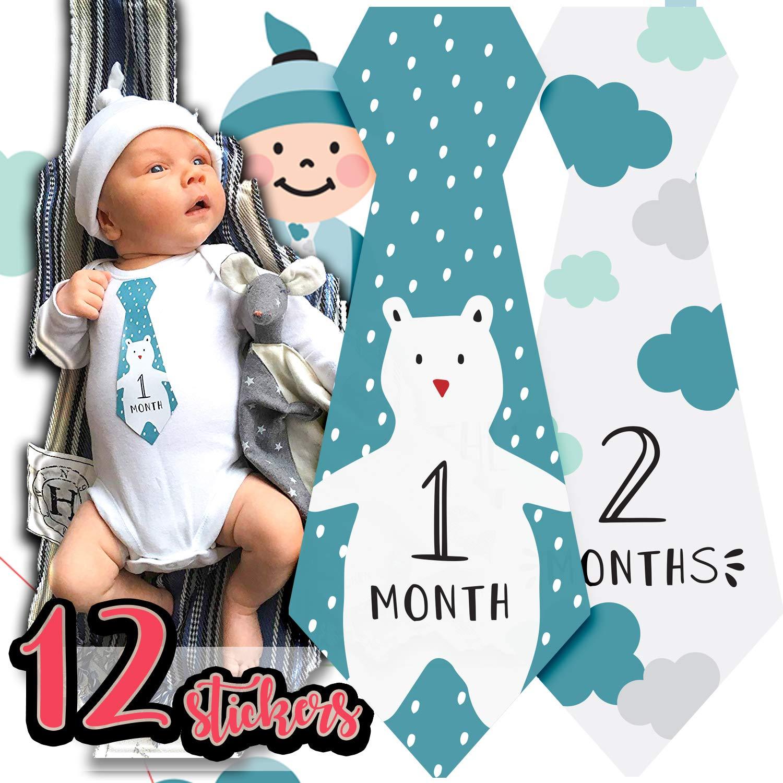 Baby Boy Girl Monthly Necktie Milestone Stickers Ties Tie Shower Gift Months Q