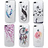iPhone 8 plus Case, iPhone 7 plus Case - 6 Pcs Shock-absorption Soft TPU Rubber Skin Bumper Case Transparent Crystal Clear Cute Colorful Patterns Ultra Thin Slim Protective Cover by Badalink - Group 5