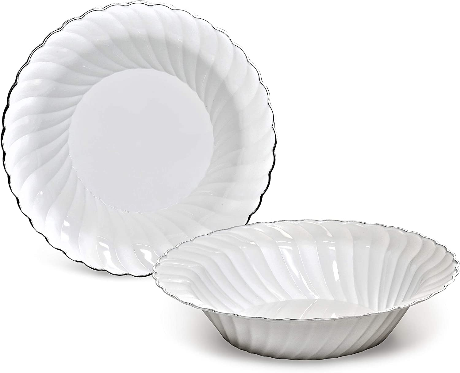 OCCASIONS 120 Bowls Pack, Heavyweight Wedding Party Disposable Plastic Bowls (12oz Soup Bowl, Blossom in White & Silver) 717CY68%2BFJL