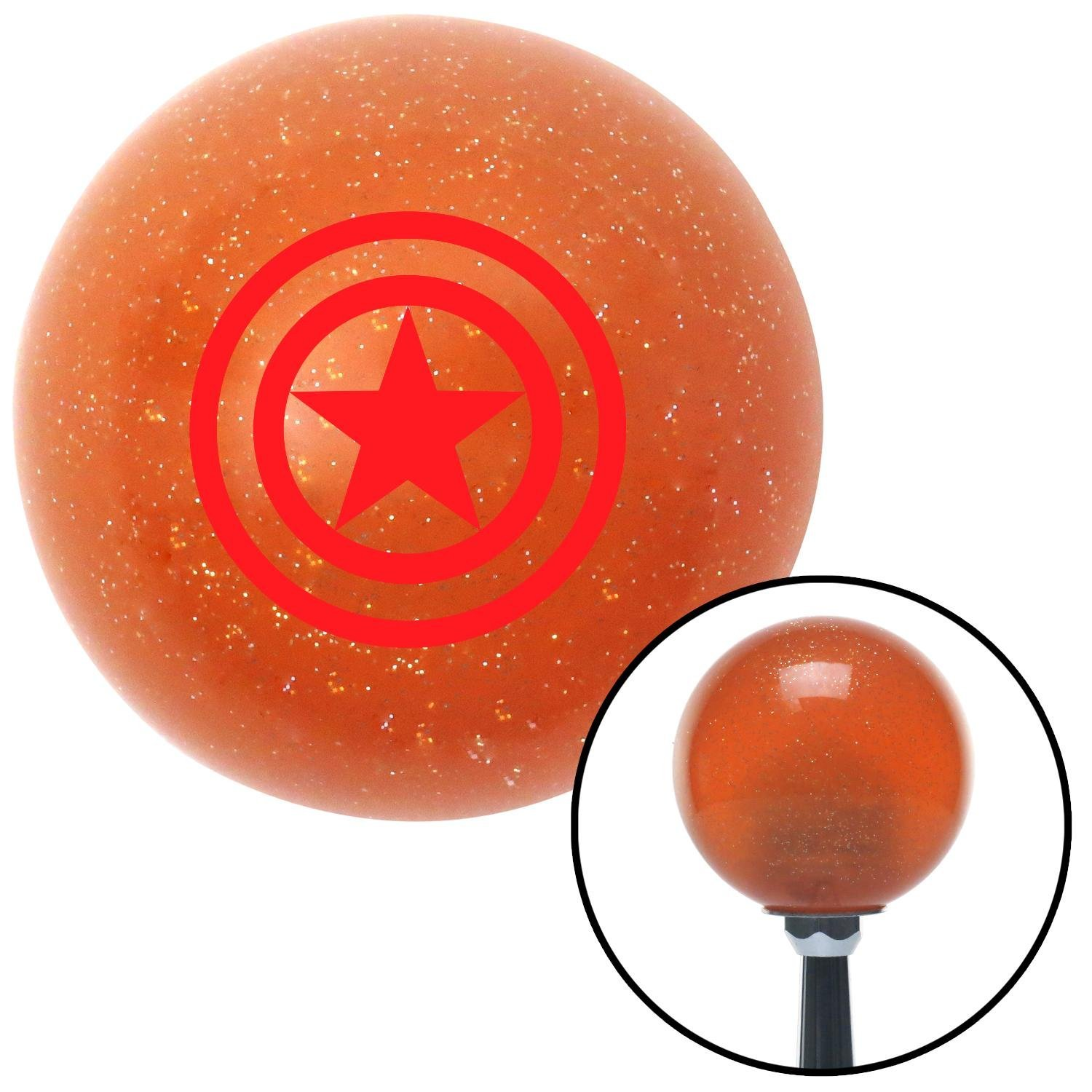 Red Outlined Star American Shifter 39161 Orange Metal Flake Shift Knob with 16mm x 1.5 Insert