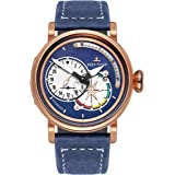 Reef Tiger Mens Pilot Watches Rose Gold Case Blue Leather Automatic Watch Date RGA3019
