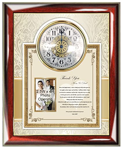 Amazon.com: Mom Dad Thank You Wedding Gift Poetry Clock Frame ...