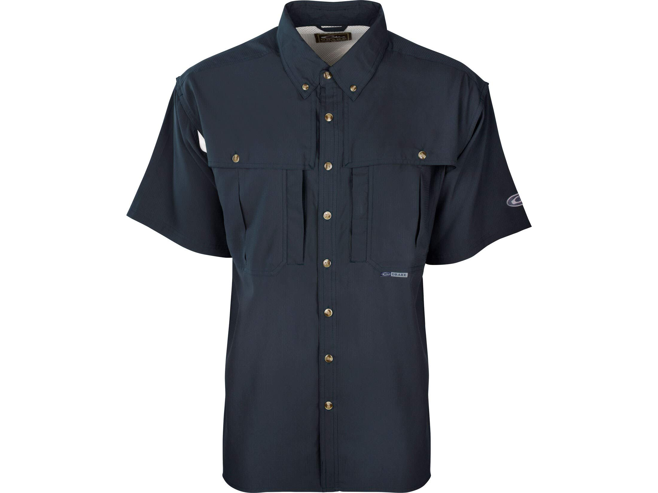 Drake Men's Flyweight Wingshooter's Shirt Short Sleeve Polyester Navy Large by Drake