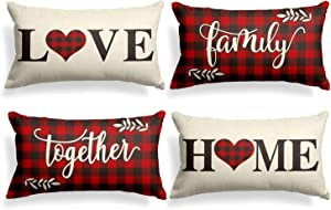 AVOIN Family Saying Buffalo Plaid Throw Pillow Cover, 18 x 18 Inch Holiday Love Home Easter Day Fall Cushion Case for Sofa Couch Set of 4 (12 X 20, Red and Black)