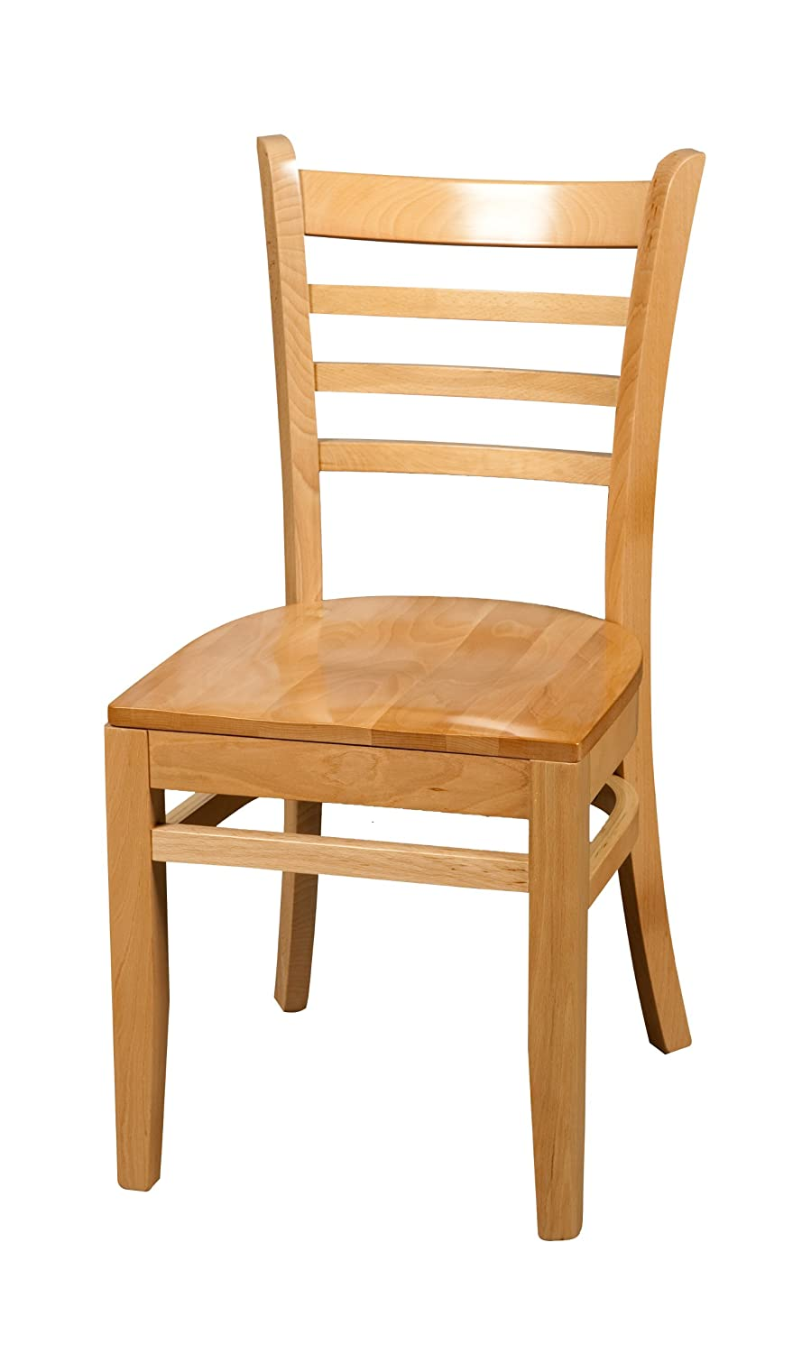 Oak Street Manufacturing WC101NT Solid Natural Wood Frame Ladderback Dining Chair with Natural Wood Seat, 18' Width x 17' Depth 18 Width x 17 Depth