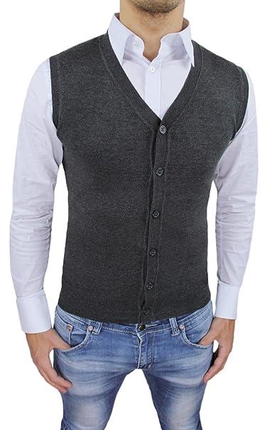 save off 25002 8566c Gilet smanicato uomo grigio scuro slim fit casual elegante corpetto maglia  cardigan