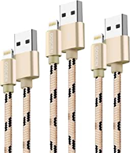 Lightning Cable,GOSCIEN 3Pack iPhone Charger,3Feet Nylon Braided Lightning to USB Cable Syncing and Fast Charging Cable Cord Compatible with iPhone X/8/X/5/5C/5S/6S/6S PLUS/7/7 plus, iPad Air, and more(Gold))