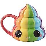 Rainbow Poop Emoji Taza de café – Funny Figural Poo diseño con tapa – Glitter Galaxy – Cerámica – 20 oz