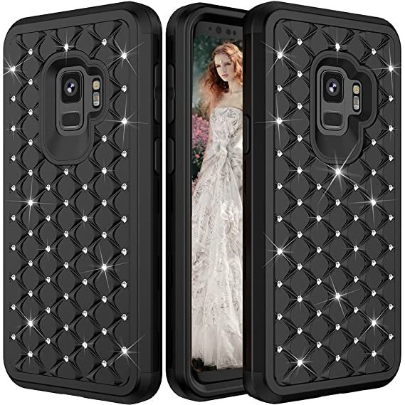new product 86198 fc216 Galaxy S9 Case,S9 Protective Case,Auker Shockproof Military Grade Armor  Bling Sparkly Mermaid Scale Hard PC+Soft Silicon Drop Protection Non-Slip  ...