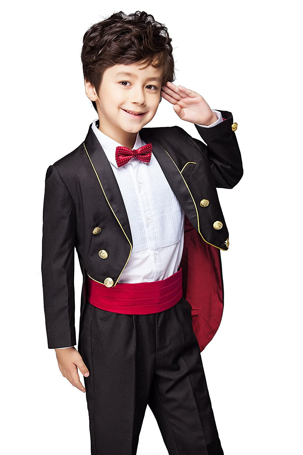 a42d9b683915 Top8  Yuanlu Boys Tuxedo with Tail Suit Shawl Collar Tailcoat Pants Shirt  and Bow Tie White and Black