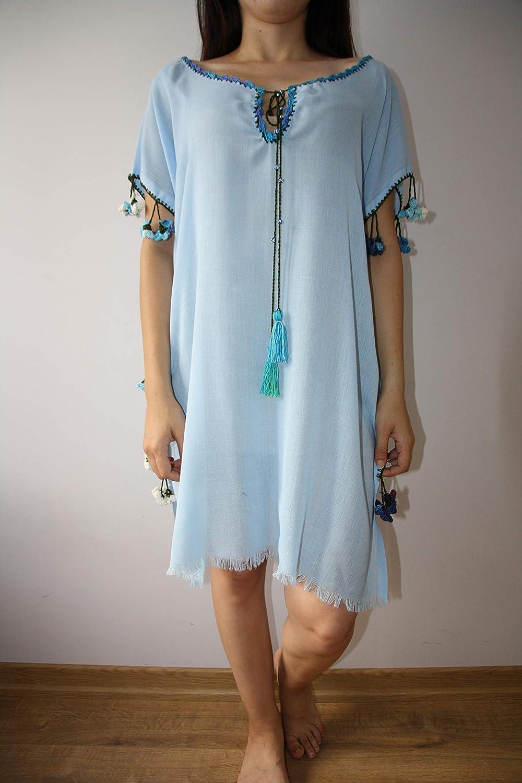 7f12e7d7582 Amazon.com: light blue dress Coton dress Handmade handcraft tunic,dresses  maxi,midi and mini with different colours embroidered bohemian dress:  Handmade