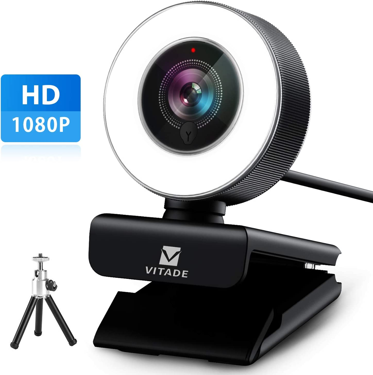 Webcam 1080P with Microphone & Ring Light, Vitade 960A Pro USB HD PC Web Camera Video Cam for Streaming Gaming Conferencing Mac Windows Desktop Computer Xbox Skype OBS Twitch Youtube (Tripod Included)