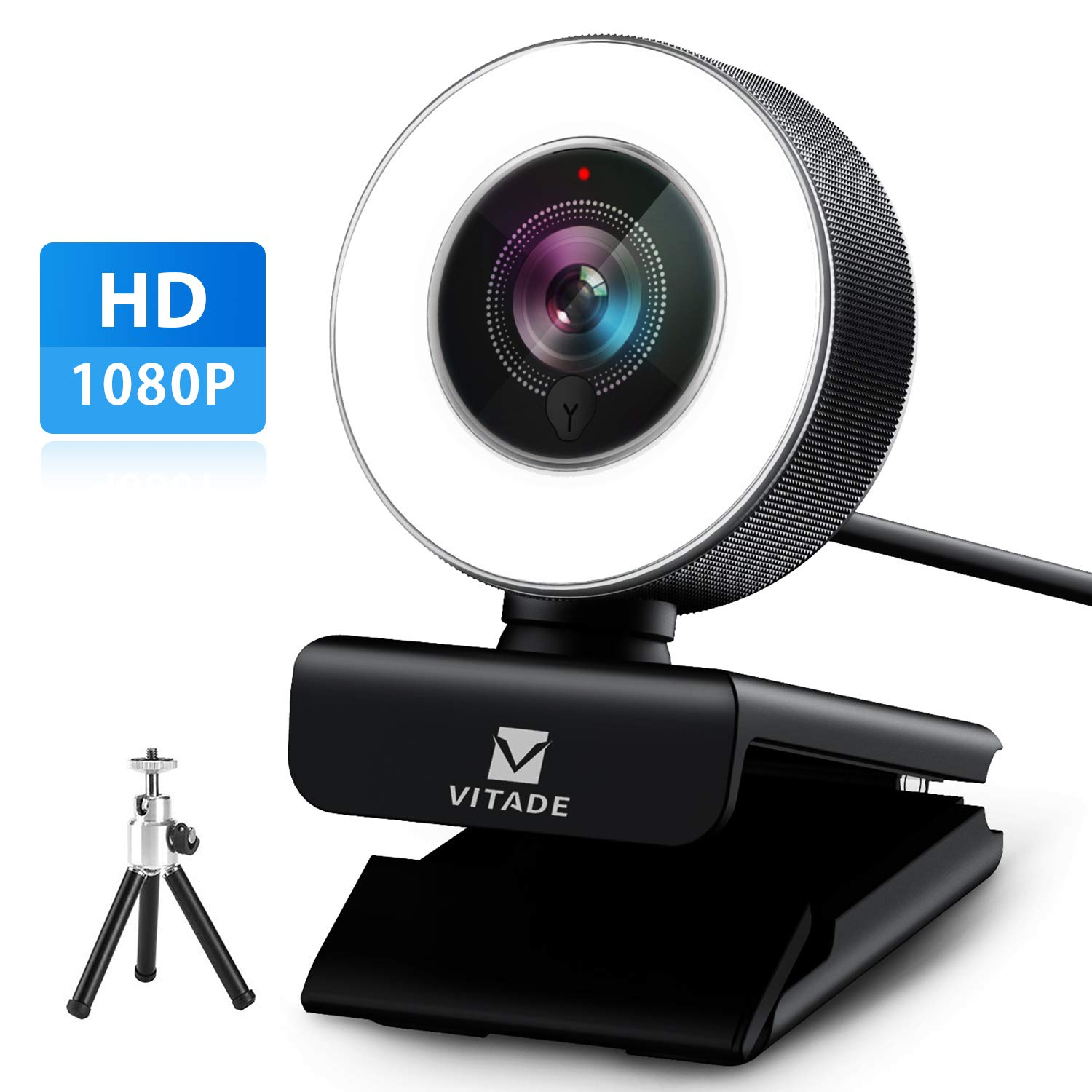 Webcam 1080P with Microphone & Ring Light, Vitade 960A Pro USB HD PC Web Camera Video Cam for Streaming Gaming Conferencing Mac Windows Desktop Computer Xbox Skype OBS Twitch Youtube (Tripod Included) by Vitade
