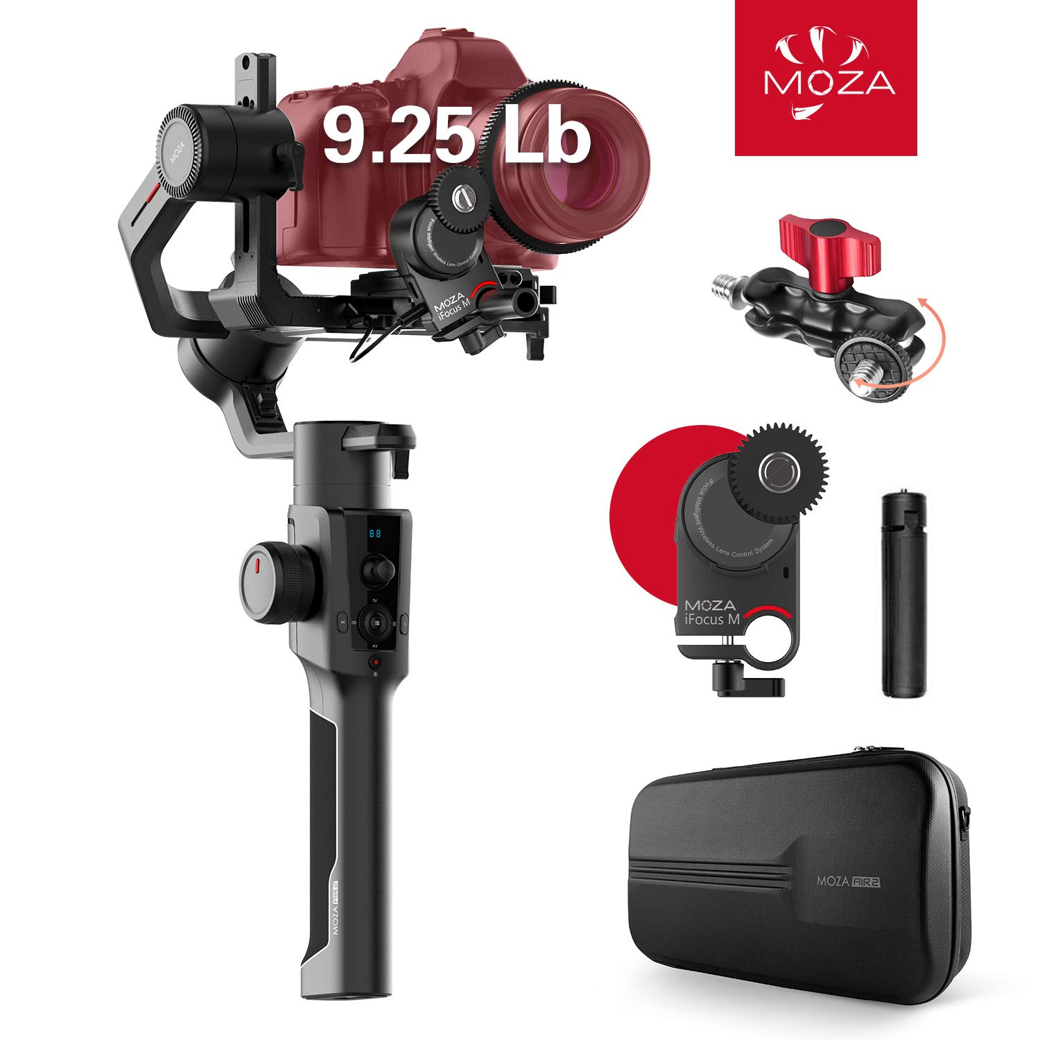 MOZA Air 2 with iFocus-M Wireless Motor, 3-axis Gimbal Stabilizer, 9Lb Payload 8 Follow Modes 16h Run-time for DSLR Mirrorless Pocket Cinema Cameras, Multi-Function Ballhead Mount & Hard Case Included by MOZA