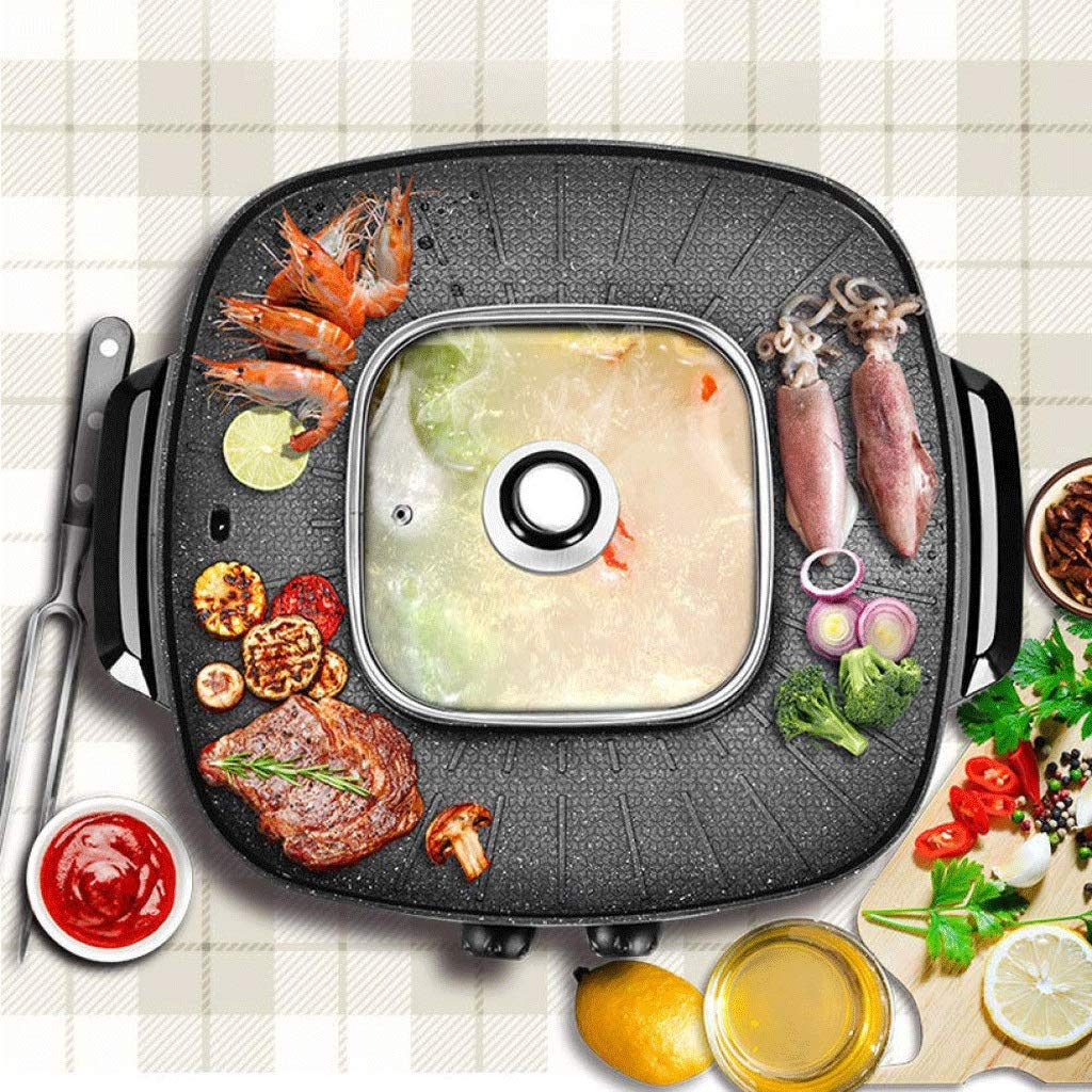 WSJTT Electric Grill with Hot Pot,Non-Stick Coating Surface,Hot Pot with Glass Lid,Multifunction Two-in-one Electric Smokeless Non-Stick Barbecue Grilled Shabu-shabu 1900W 220V by WSJTT (Image #3)