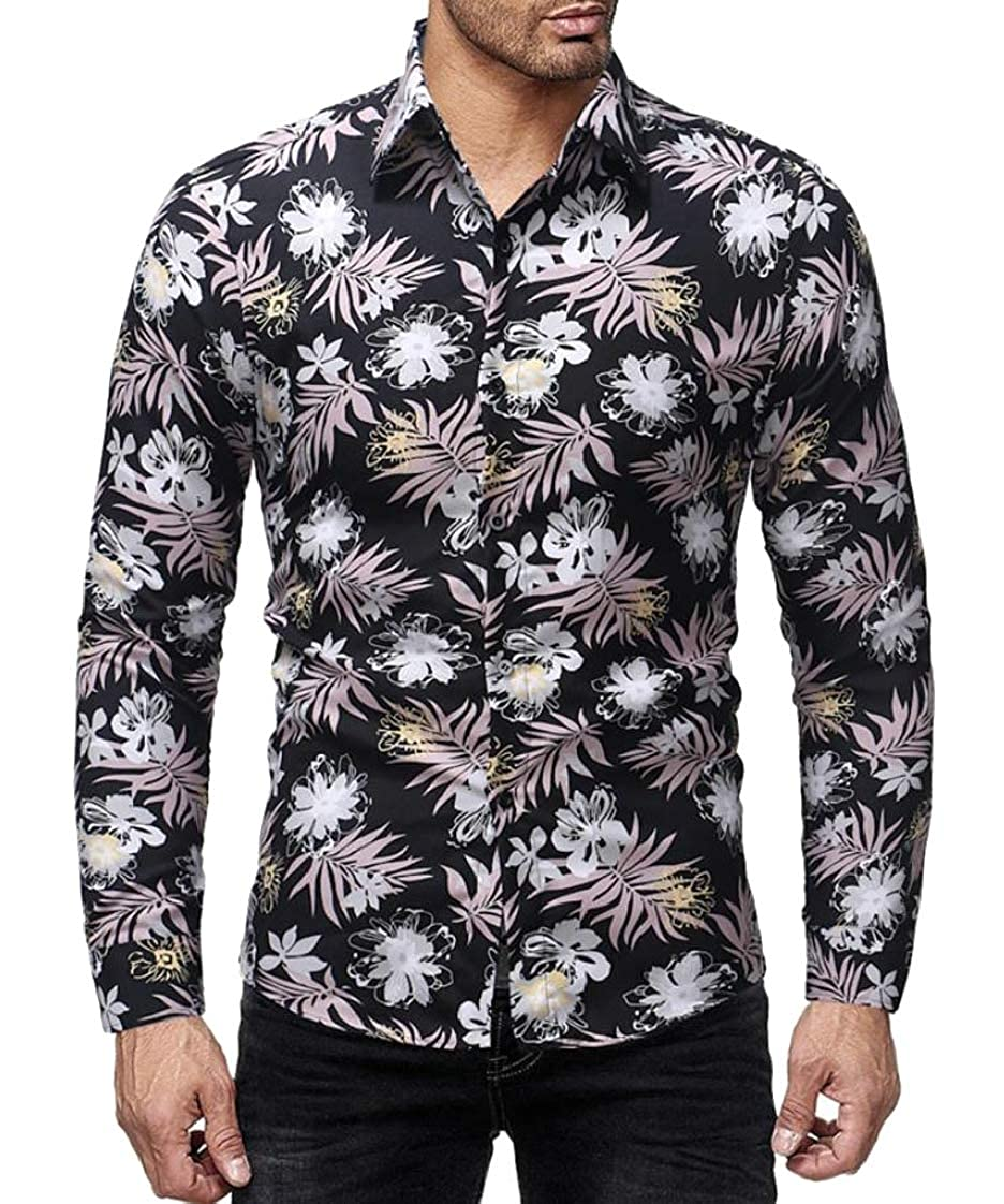 Pandapang Men Turn Down Printing Digital Long Sleeve Floral Button Up Shirts