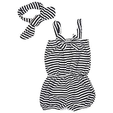 ded286cb0 Amazon.com  Unique Baby Girls Striped Romper Headband Set  Clothing