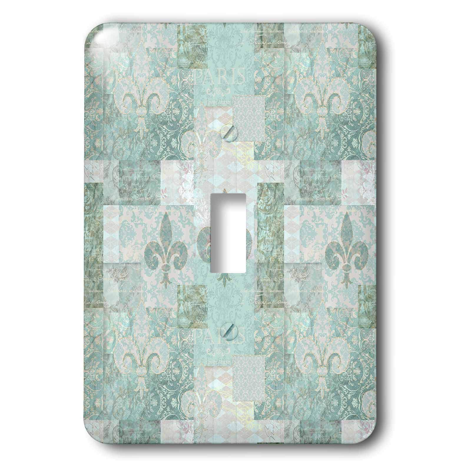 3dRose Andrea Haase Allover Pattern - Vintage Patchwork And Ornament Pattern In Pastel Teal - Light Switch Covers - single toggle switch (lsp_289393_1)