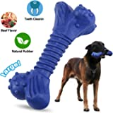 Dog Chew Toys for Aggressive Chewers Tough Durable Strong Natural Rubber Dog Bone Toy for Large Dogs Molar Dental Teeth…