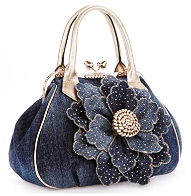 72e2800f0796 Kaxidy Ladies Girls Womens Denim Handbag Jean Bag Denim Shoulder Bag  Shopper Satchel Messenger Tote Bags