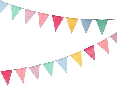 Hicarer Banderas de 12 Multicolor Banderines de Tela Banderines de Arpillera de Imitación Banderas de Triángulo para Decoración de Fiesta: Amazon.es: Juguetes y juegos