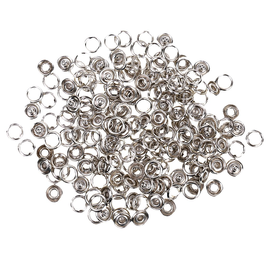 50 Sets 7/16 Inch Open Ring No Sew Snaps Fasteners Silver STK0115006743