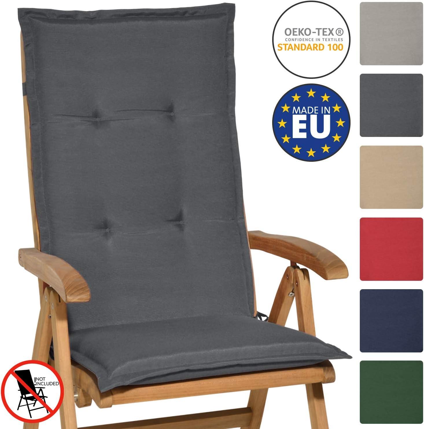Beautissu Loft HL - Cojín para sillas de balcón o Asiento Exterior con Respaldo Alto - 120x50x6 cm - Placas compactas de gomaespuma - Gris Grafito