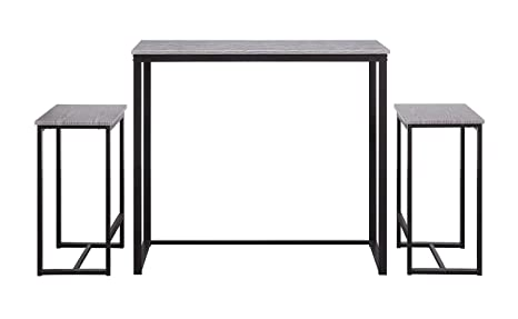 Abington Lane Kitchen Table Set - Versatile, Tall, Modern Table Set for  Kitchen, Dining Room, and Living Room (Heathered Wood Finish, 2 Stools)