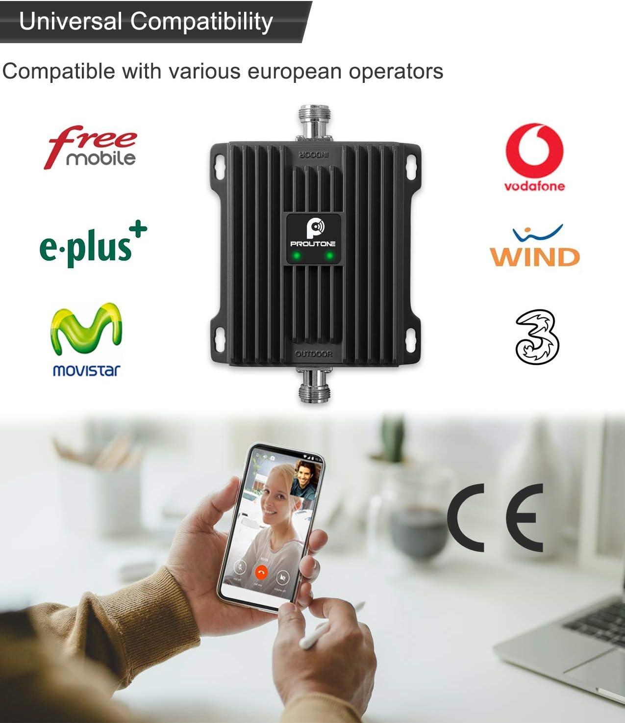 Proutone Amplificador de Señal Móvil LTE 4G 3G Datos gsm 2G Llamadas para Casa Rural Oficina Banda 20 Banda 8 Movistar Orange Vodafone Yoigo ...