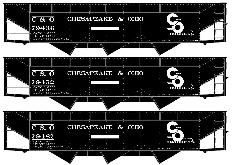Accurail HO Scale Kit AAR 3-Bay Hopper 3Pk Chesapeake Ohio/C&O 79436/79452/79487