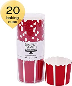 Simply Baked Large Paper Baking Cups Scarlet with White Stripe 20-Pack Disposable and Oven-safe