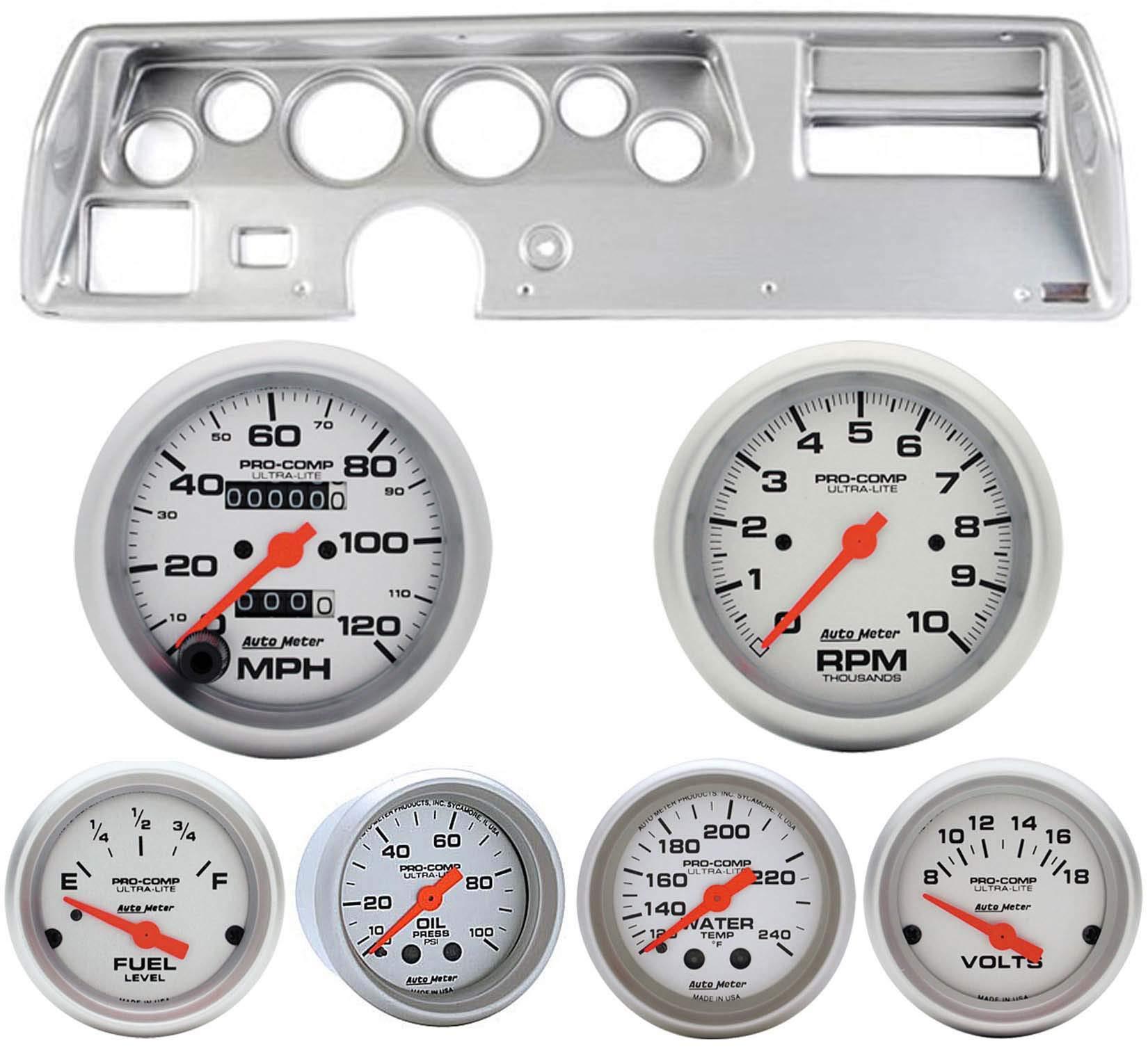 70-72 Chevelle SS Silver Dash Carrier w/Auto Meter Ultra Lite Mechanical Gauges