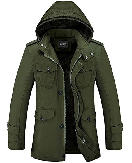 Nidicus Mens Classic Zipper Up Pea Coat with Removable Hood ...