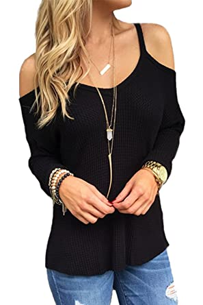 ae4b635330 YOINS Women Jumpers Knitted Tops Cold Shoulder Long Sleeves Blouse Pullover  Black XS