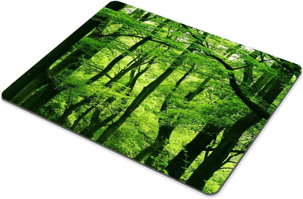Smooffly Green Forest Mouse Pad,Tropical Rainforest Trees Mouse Pad,Beautiful Fresh Green Forest Personality Gaming Mouse Pad