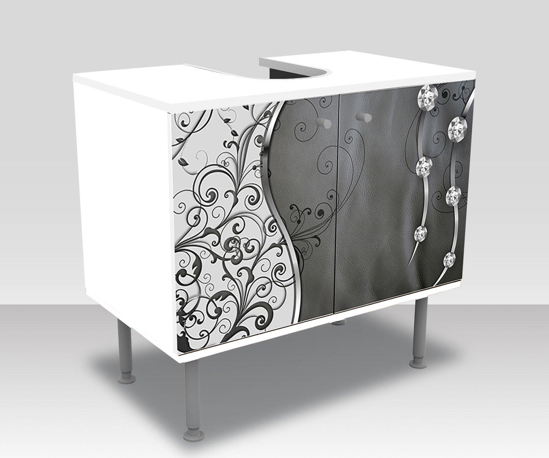 Mobile lavabo M0056 wandmotiv24 Mobile Bagno Adriana Retro Fiori Incollato Frontale Lavabo