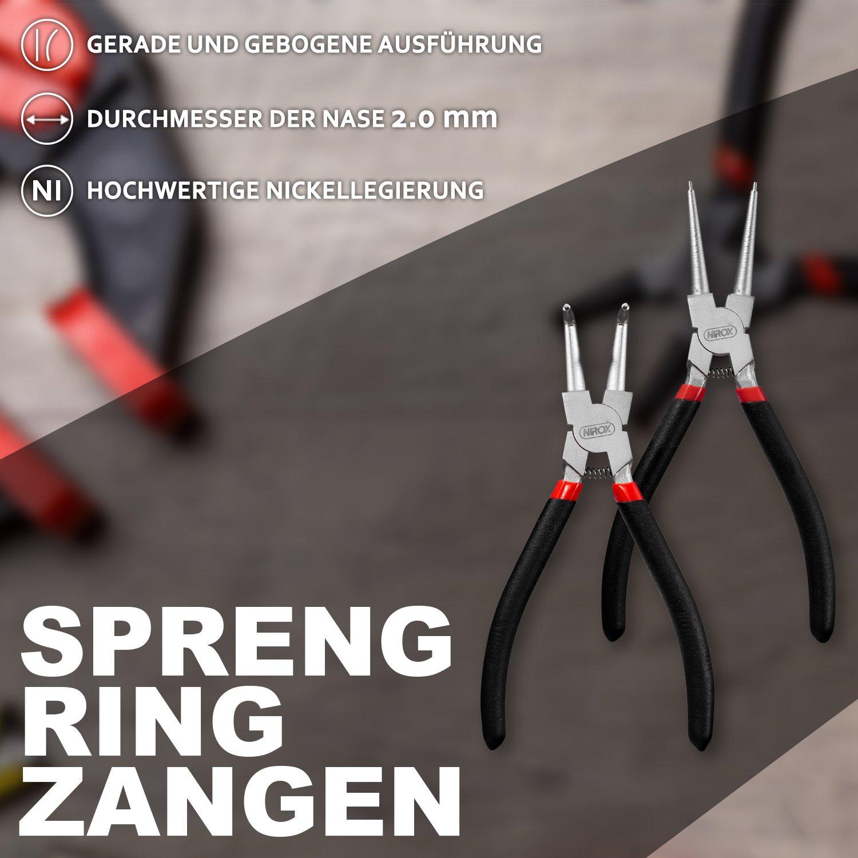 330/mm a scelta//per interni /& esterni anelli//anelli seeger pinze Seeger Di Pinze sprengringz angen Set da 4/pezzi//125/mm 175/mm 225/mm