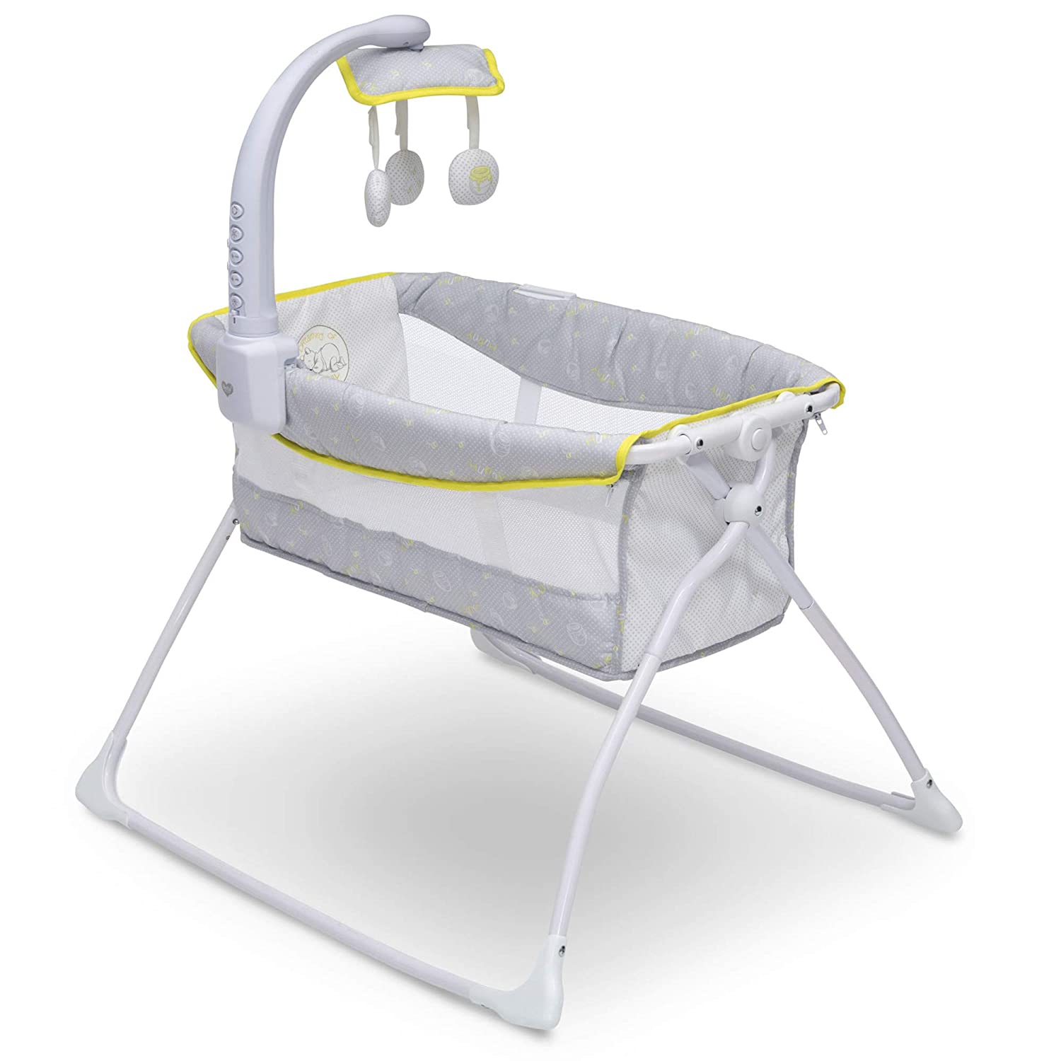 Delta Children Deluxe Activity Sleeper Bedside Bassinet - Folding Portable Crib for Newborns, Disney Winnie The Pooh