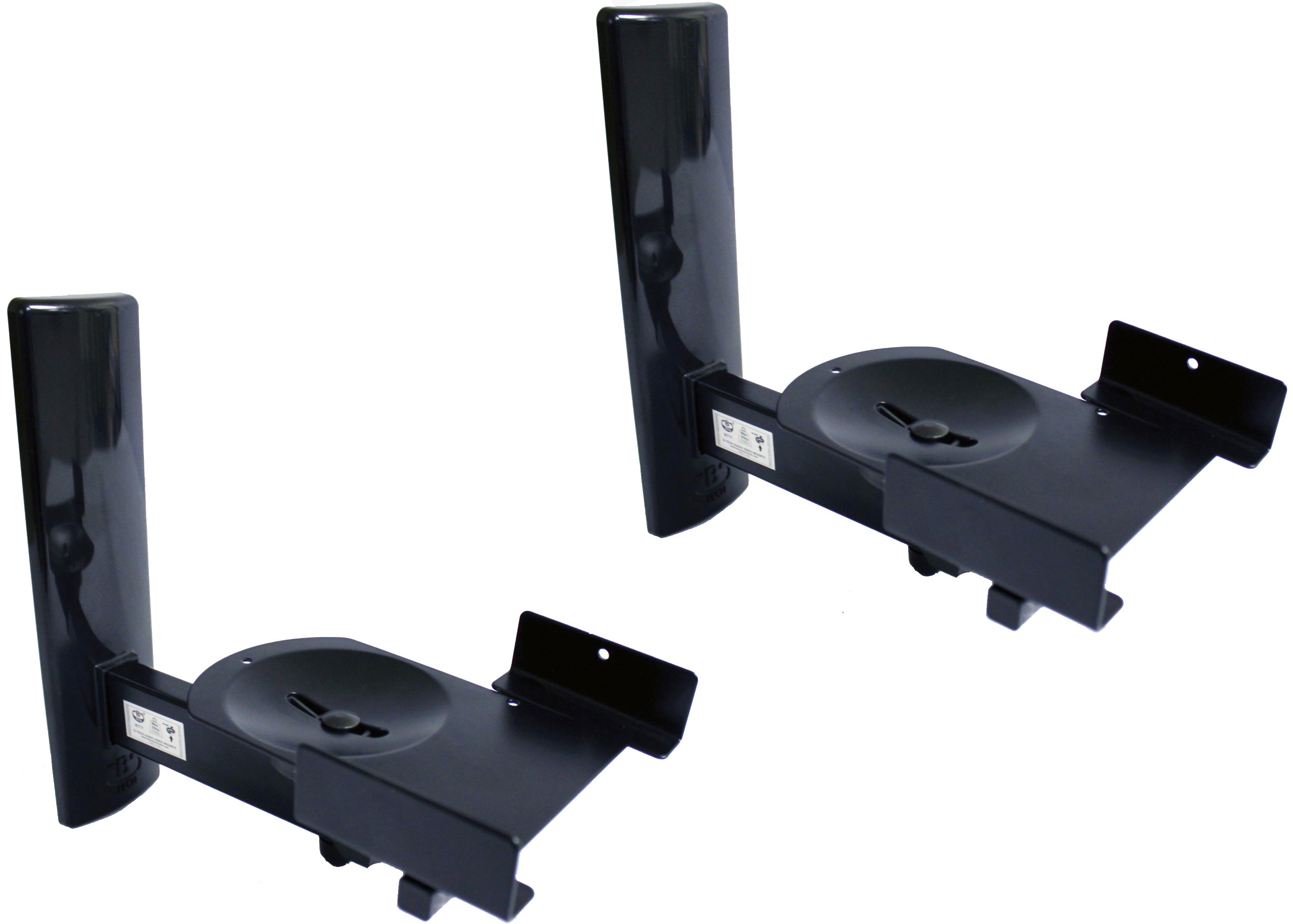 B-Tech BT77 Ultragrip Pro Speaker Mount, Set of 2, Side Clamp with Tilt and Swivel, Black by BTECH