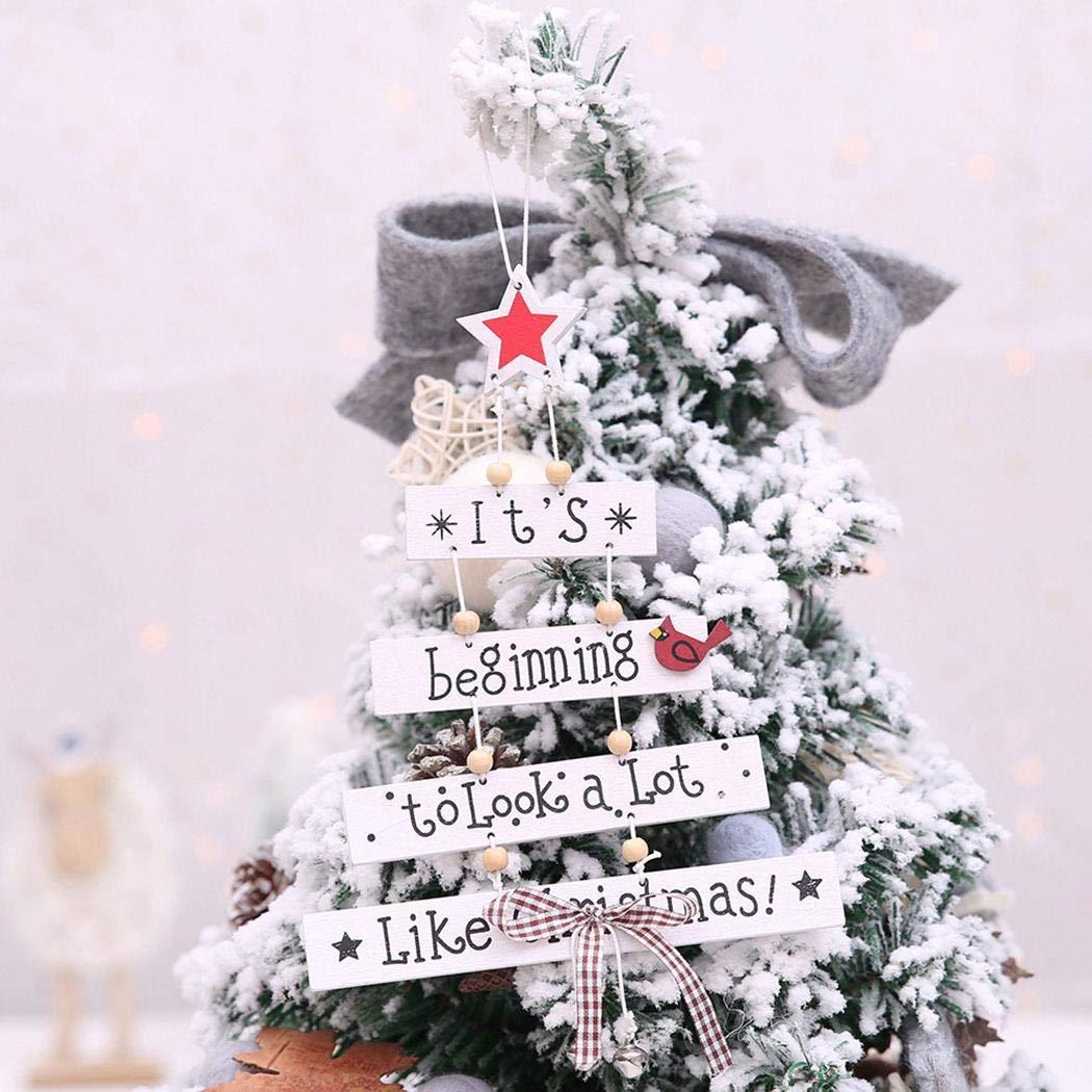 Amiubo Holz Brief Weihnachtsbaum hängende Ornamente DIY Home Party Festival Dekoration