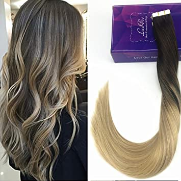 Amazon Com Laavoo 16 Skin Weft Dip Dye Real Hair Extensions