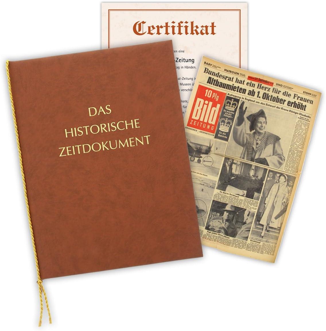 Zeitung vom Tag der Geburt 1980 Mappe /& Zertifikat als Geschenkidee historische Zeitung inkl