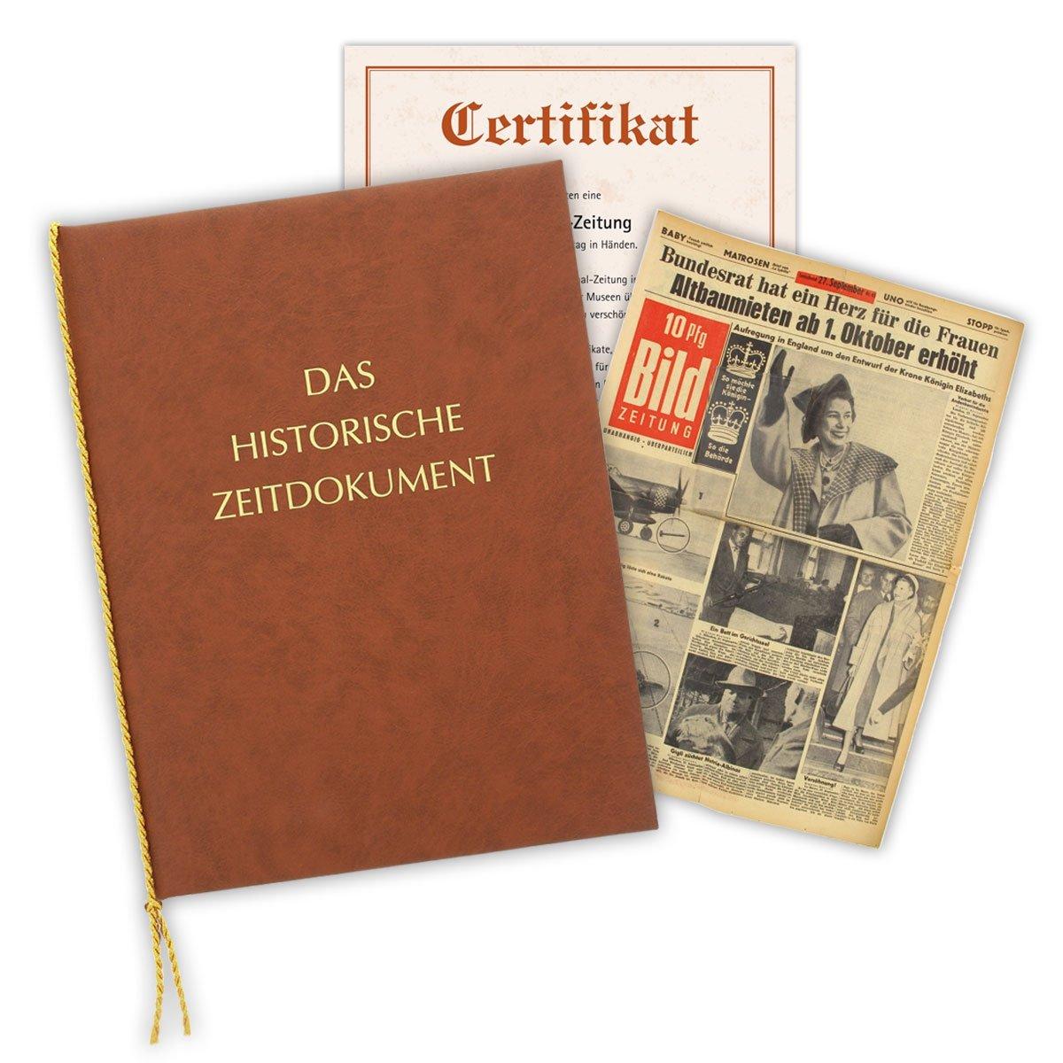 Mappe /& Zertifikat als Geschenkidee Zeitung vom Tag der Geburt 1936 historische Zeitung inkl