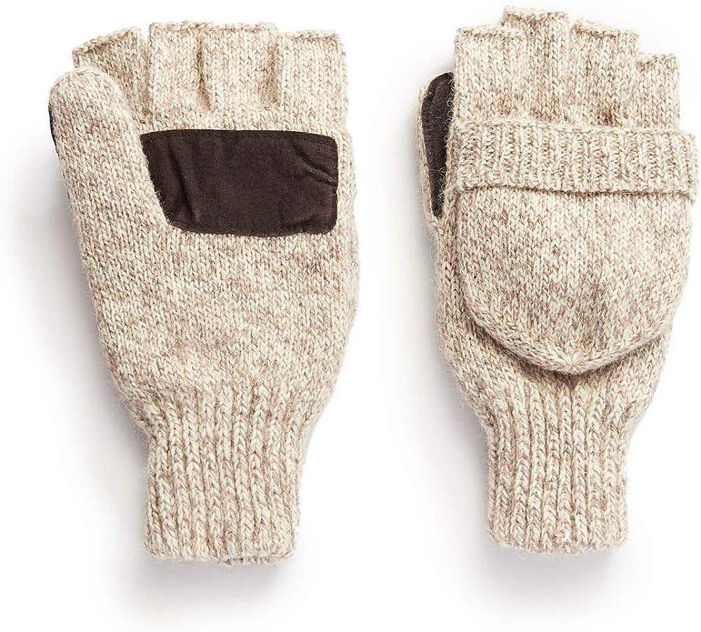 Hot Shot Ragg Wool Pop Top Fingerless Glove, Oatmeal: Clothing